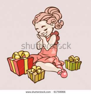 Illustration Of A Little Girl Getting Lots Of Presents On Her Birthday