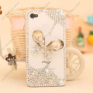 3D butterfly Bling Crystal clear rhinestone Case Cover for