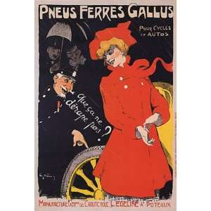 GIRL RED DRESS PNEUS TIRES FERRES GALLUS FRANCE FRENCH VINTAGE POSTER