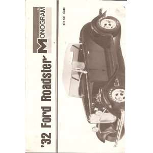 Inst Sheet 1932 Ford Roadster: Monogram: Books