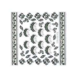 Iridescent Glitter White & Black Floral Lace Doily Nail