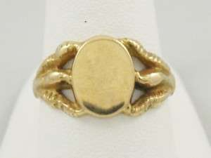 888 1627 Estate 14K Yellow Gold Talon Blank Signet Ring