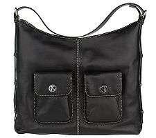 Leonello Borghi Black Leather Large Hobo Bag NWT
