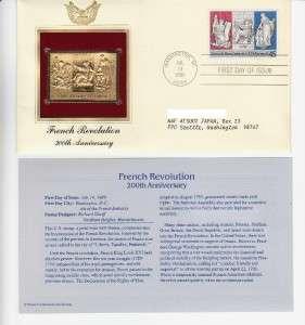 FDC & 22k Gold Stamp 1989 French Revolution 200th Anniv