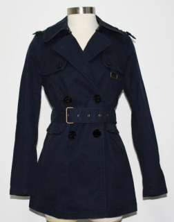 Couture Long Navy Blue Cotton REGAL SKYLAR TRENCH COAT Jacket M Medium