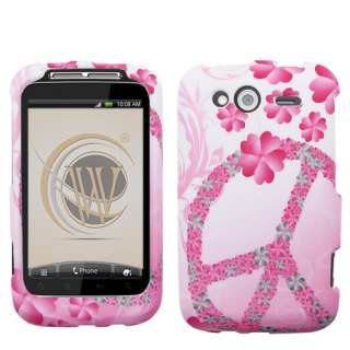 for NEW HTC WildFire S PINK WHITE PEACE DESIGN SKIN HARD ACCESSORY