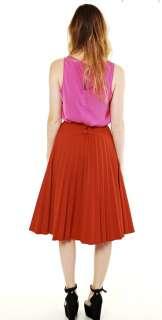 Vtg 70s RUST Orange High waist ACCORDIAN PLEATED full swing MIDI dress