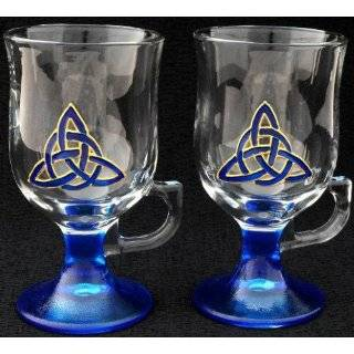 Celtic Glass Designs Set of 2 Hand Painted Irish Coffee Glasses in a
