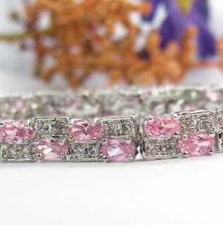 Fashion Jewelry Pink Topaz Zircon Gemstone Silver Bracelet NB5