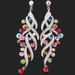 ARINNA Swarovski Crystal Colorful Dangle GP Earrings