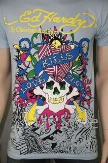 Ed Hardy MensTShirt Lt. Blue POP ART Love Kills XXL