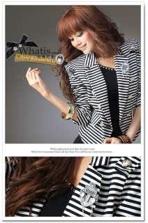Fashion Korean Women Navy Badges Stripes Jacket 0533