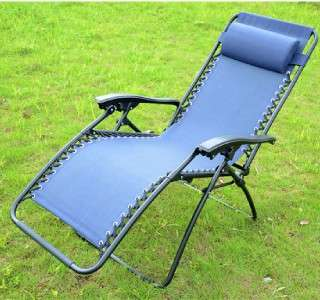 New foldable blue Zero Gravity Recliner Lounge Patio Pool Chair