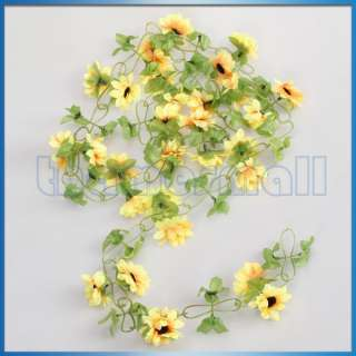 Artificial Sunflower Garland Silk Flower Vine for Home Wedding Garden