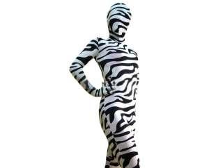 Full Body Zebra Unisex Lycra Spandex Zentai Suit S XXL #ZB014