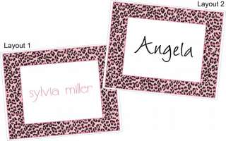 Personalized PINK LEOPARD Note Cards Stationery