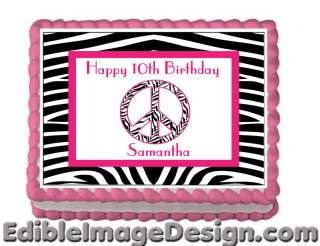PINK ZEBRA PEACE Edible Cake Party Image Topper Custom