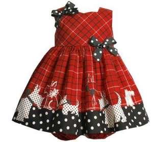 Bonnie Jean Baby Girls Red Black Scotty Dog Dress 12M
