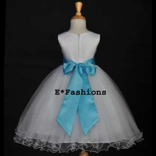 WHITE TURQUOISE BLUE PAGEANT BRIDAL HOLIDAY FLOWER GIRL DRESS 12M 18M