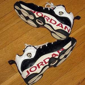 NIKE AIR JORDAN SHOES BLACK/WHITE/RED LOGOS YOUTH/BOYS 5 RARE
