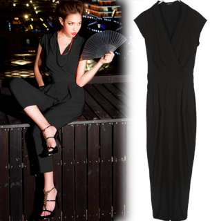 Womens Cap Sleeve Jumpsuits Rompers Overall Long Pants Trousers Solid