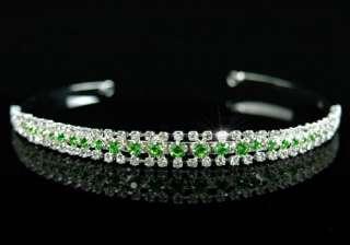 Row Green Crystal Bridal Wedding Headband Tiara T1246