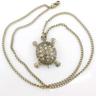 Gold tone White Crystal Turtle Baby Pendant NECKLACE