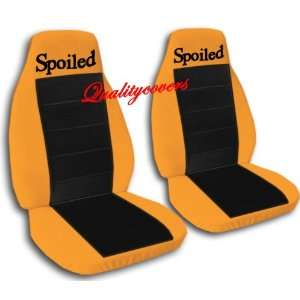2 Orange and black Spoiled car seat covers for a 2002