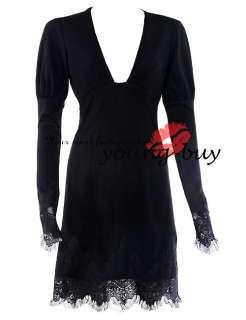 Black Fitted Lace Long Sleeve Dress AU Sz 6 16 w1404