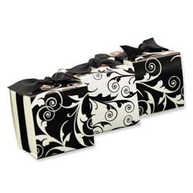 New Reversible Black & White Flourish Wrap Favor Boxes