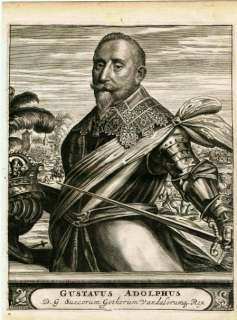 ANTIQUE PRINT, KING GUSTAV II   ADOLPHUS, Sweden,1676