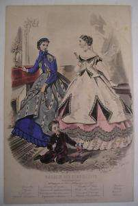 1865 FASHION PLATE Afternoon Dress Mag. des Demoiselles