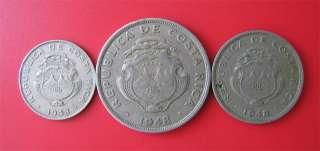 COSTA RICA 1948 25 CENTIMOS + 50 CENTIMOS + 2 COLONES