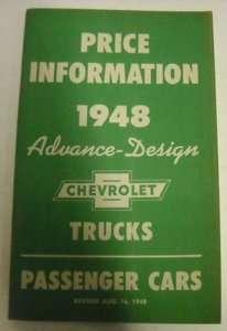 Chevrolet 1948 Car & Truck Advance Price Brochure