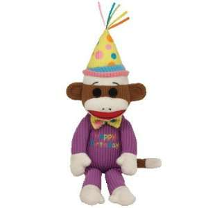 : TY Beanie Baby   HAPPY BIRTHDAY Sock Monkey (11 inch): Toys & Games