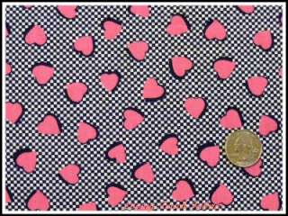 OOP 1990s Valentine Tossed Pink Hearts Fabric