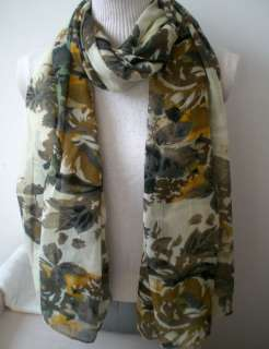Cotton Big Scarf 70x43 White Colorful Floral #yw