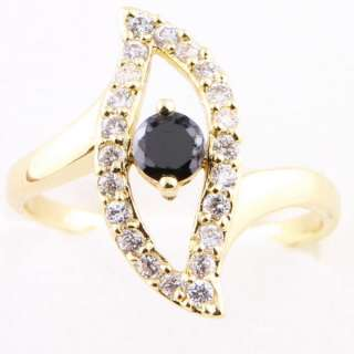 Evil Eye Black Sapphire A169n Yellow Gold Plated Ring