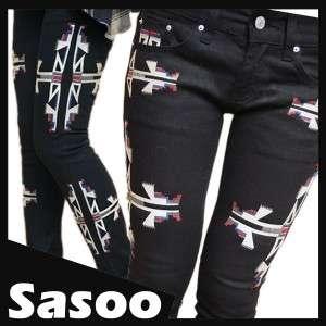 EMBROIDERED skinny jeans BLACK 26 27 28 29 30 UK 6 8 10 12
