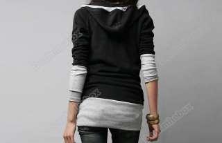 Korea Womens Long Sleeve Cotton tops dress Hoodie coat