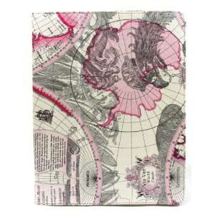 Map of the World Pink with Kickstand Function Leather Case