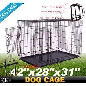 Frugah New 42 Folding Pet Dog Cage Crate Portable 2 Door