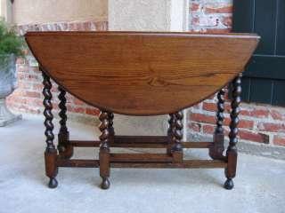 SLIM Antique English Oak Barley Twist Drop Leaf Gateleg Dining Sofa