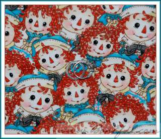 BOOAK Fabric Raggedy Ann & Andy Doll Flannel Classic VTG Red Blue