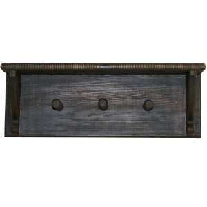 Rustic All Wood 3 Peg Coat Rack Wall Shelf