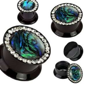 Double Flared Plugs with Gems & Abalone Inlay Jewelry