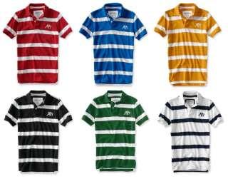 Aeropostale mens striped embroidered A87 Logo polo shirt   Style 2046