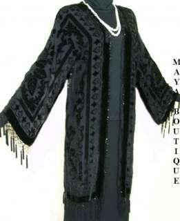 SILK JACKET KIMONO 20s STYLE BLACK VELVET BEADED NEW