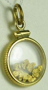 Estate Natural Alaskan 23K Placer Gold Nuggets Bullion Pendent