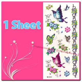 Temporary Tattoo Removable Colorful Butterfly Flower YM X47